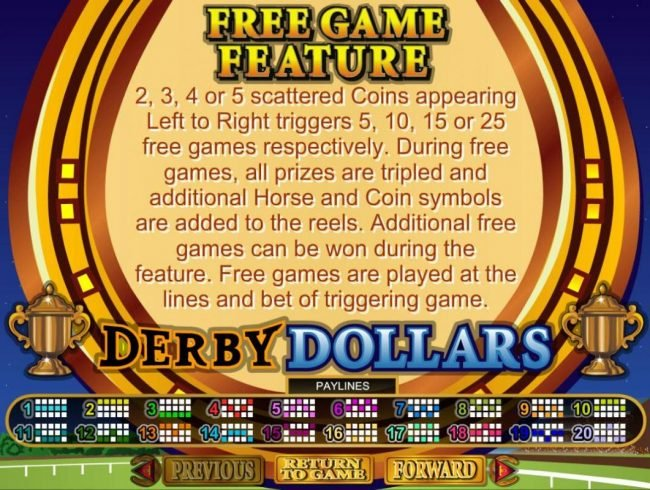 Derby Dollars :: Free Game Feature - 2, 3, 4 or 5 scattered coins appearing left to right triggers 5, 10, 15 or 25 free games respectively.