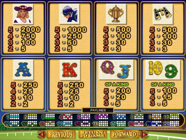 Derby Dollars :: Slot game symbols paytable featuring horse racing inspired icons.