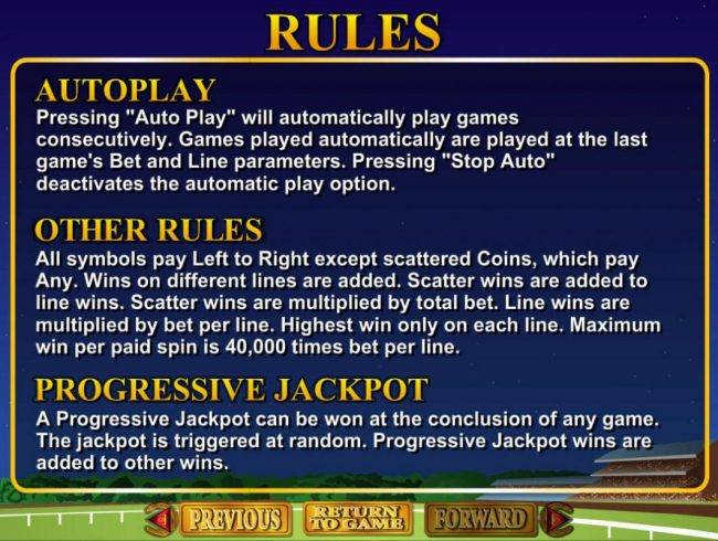 Derby Dollars :: Progressive Jackpot Rules and General Game Rules