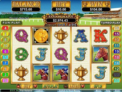 Diamond Reels featuring the Video Slots Derby Dollars with a maximum payout of $200,000