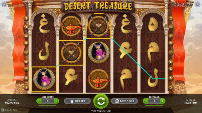 CryptoWild featuring the Video Slots Desert Treasure with a maximum payout of $8,000