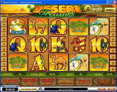 Vegas Red featuring the Video Slots Desert Treasure with a maximum payout of Jackpot