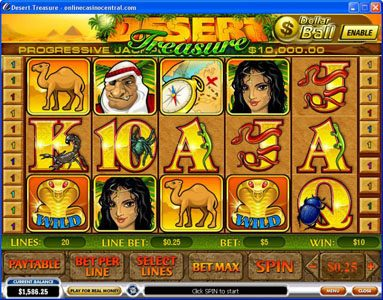 Omni featuring the Video Slots Desert Treasure with a maximum payout of Jackpot