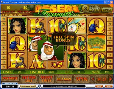 Casino.DK featuring the Video Slots Desert Treasure with a maximum payout of Jackpot