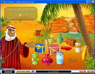 Casino.com featuring the Video Slots Desert Treasure with a maximum payout of Jackpot