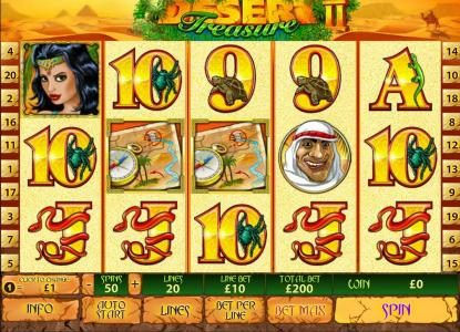 Desert Treasure II :: main game board featuring 5 reels and 20 paylines