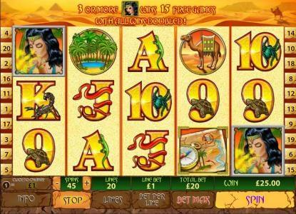 Desert Treasure II :: two scatter symbols lead to a jackpot