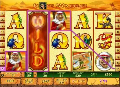 21 Nova featuring the Video Slots Desert Treasure II with a maximum payout of $500,000