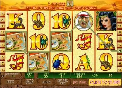 Royal Dice featuring the Video Slots Desert Treasure II with a maximum payout of $500,000