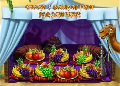 Desert Treasure II :: choose 3 bowls of fruit for cash prizes
