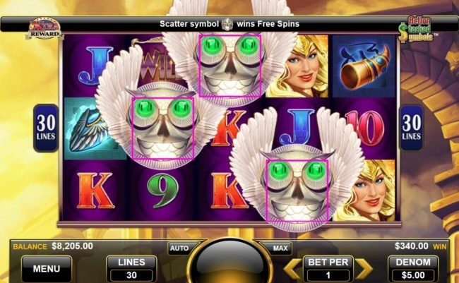 Scatter symbol wins free spins