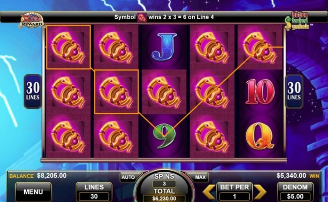 Multiple winning paylines triggers a 5340 big win during the free spins feature!
