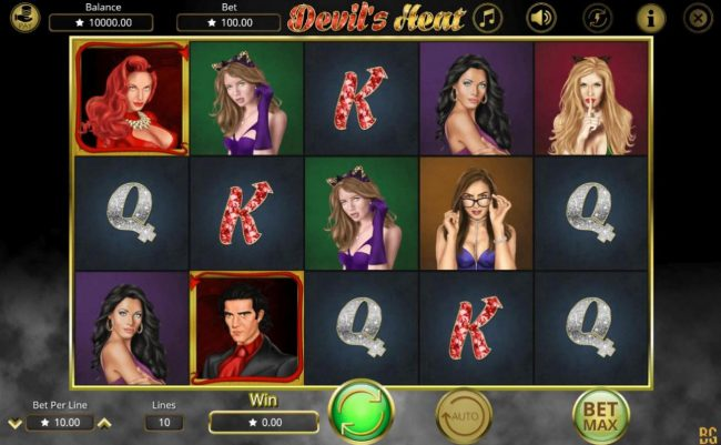 Devil's Heat :: Main game board featuring five reels and 10 paylines with a $50,000 max payout.