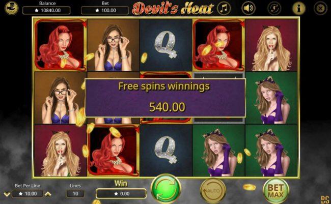 Devil's Heat :: Free Spins Total Winnings 540.00