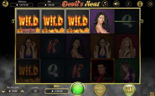 Devil's Heat :: A 2140.00 Epic Win triggered by multiple winning paylines