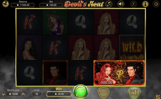 Devil's Heat :: When the she-devil and devil symbols land side by side they trigger a Lusty Win
