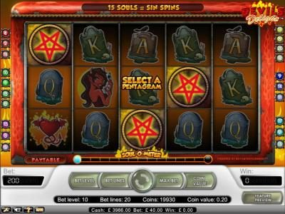 Touch Lucky featuring the Video Slots Devil's Delight with a maximum payout of $20,000
