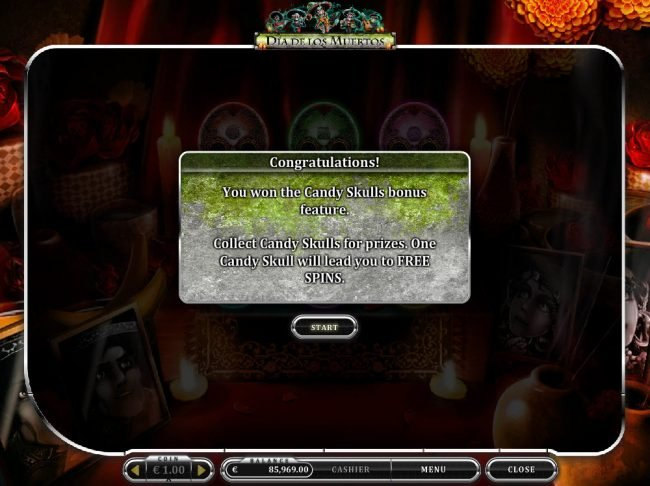 Mongoose Casino featuring the Video Slots Dia De Los Muertos with a maximum payout of $20,000