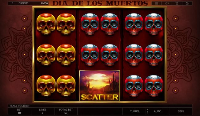 Wild Jackpots featuring the Video Slots Dia De Los Muertos with a maximum payout of $25,000