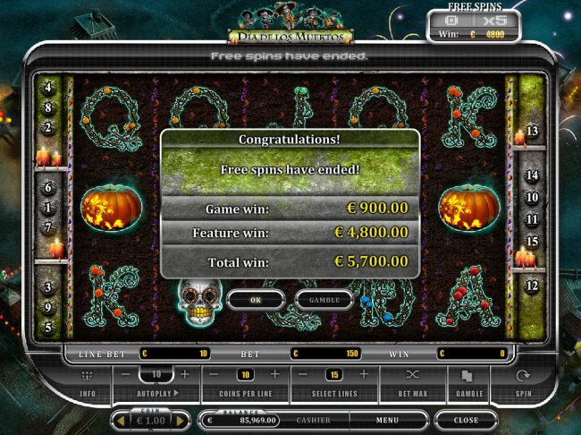 Play slots at Scatters: Scatters featuring the Video Slots Dia De Los Muertos with a maximum payout of $20,000