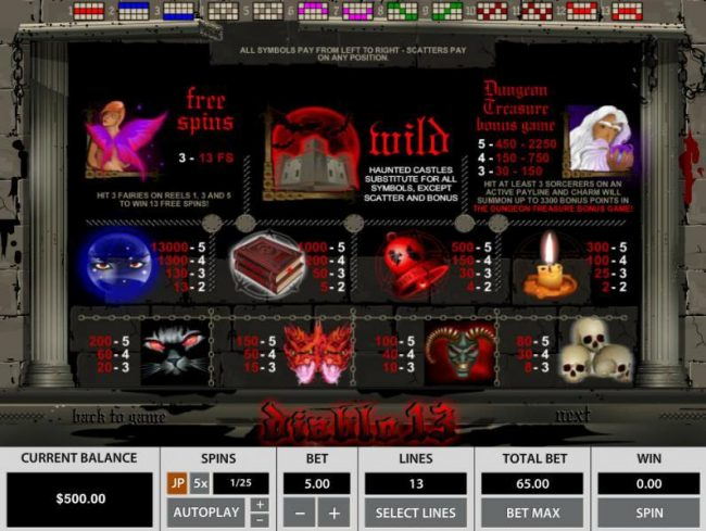 Casino Moons featuring the Video Slots Diablo 13 with a maximum payout of $65,000