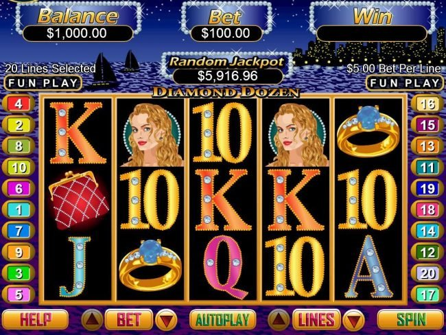 Kudos featuring the Video Slots Diamond Dozen with a maximum payout of $250,000