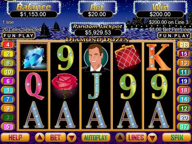 Sloto Cash featuring the Video Slots Diamond Dozen with a maximum payout of $250,000