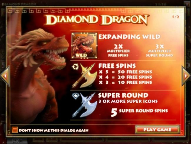 Play slots at Sports and Casino: Sports and Casino featuring the Video Slots Diamond Dragon with a maximum payout of $1,500