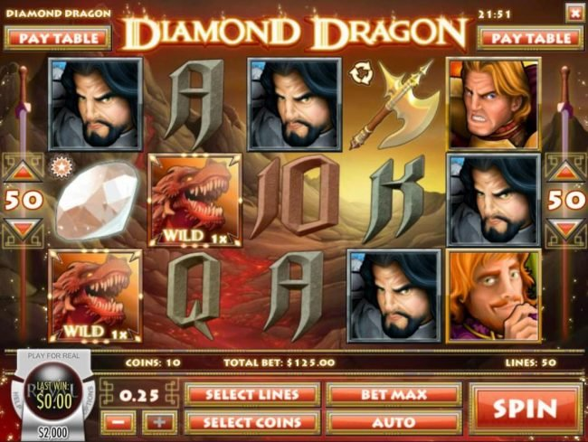 CoCoa featuring the Video Slots Diamond Dragon with a maximum payout of $1,500