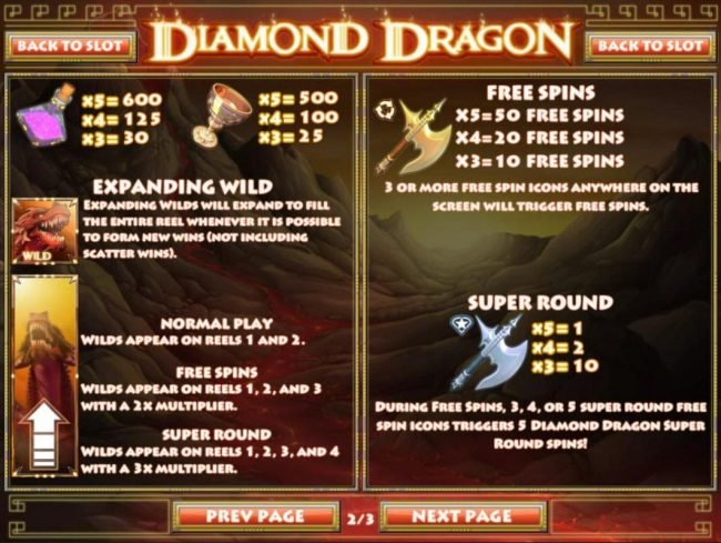 Diamond Dragon :: Expanding Dragon Wild Rules, Free Spins and Super Round Rules.s