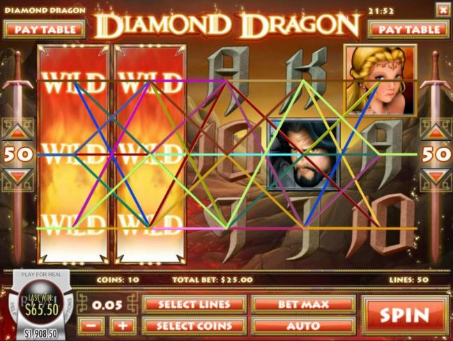 Bovada featuring the Video Slots Diamond Dragon with a maximum payout of $1,500