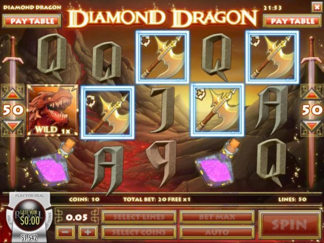 Play slots at Jupiter Club: Jupiter Club featuring the Video Slots Diamond Dragon with a maximum payout of $1,500