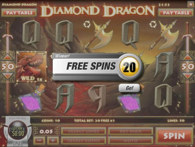 Bodog featuring the Video Slots Diamond Dragon with a maximum payout of $1,500