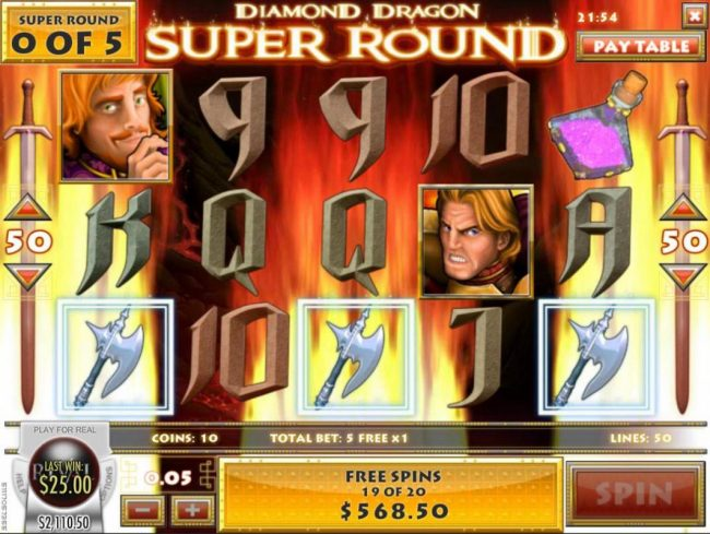 Golden Lion featuring the Video Slots Diamond Dragon with a maximum payout of $1,500
