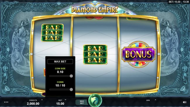 Conquer featuring the Video Slots Diamond Empire with a maximum payout of $50,000