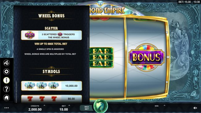 Play slots at Casino-X: Casino-X featuring the Video Slots Diamond Empire with a maximum payout of $50,000