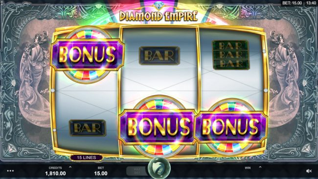 Wixstars featuring the Video Slots Diamond Empire with a maximum payout of $50,000