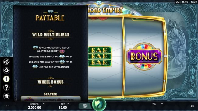 Lucky247 featuring the Video Slots Diamond Empire with a maximum payout of $50,000