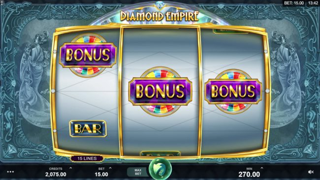 Mr Play featuring the Video Slots Diamond Empire with a maximum payout of $50,000