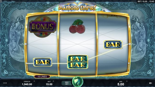 Play slots at Wild Slots: Wild Slots featuring the Video Slots Diamond Empire with a maximum payout of $50,000