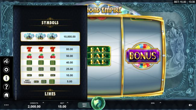 Casino Kingdom featuring the Video Slots Diamond Empire with a maximum payout of $50,000
