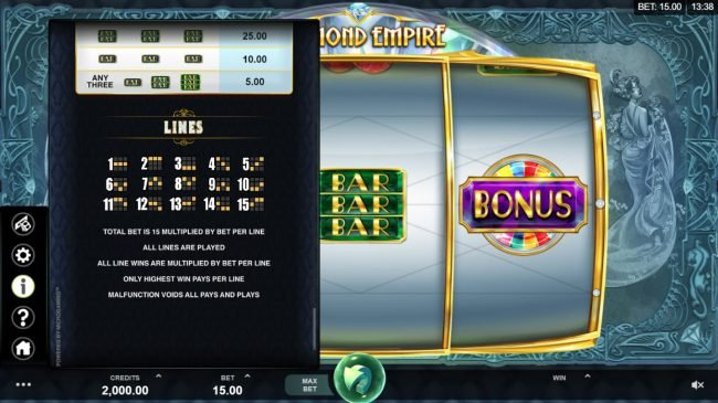 Blackjack Ballroom featuring the Video Slots Diamond Empire with a maximum payout of $50,000