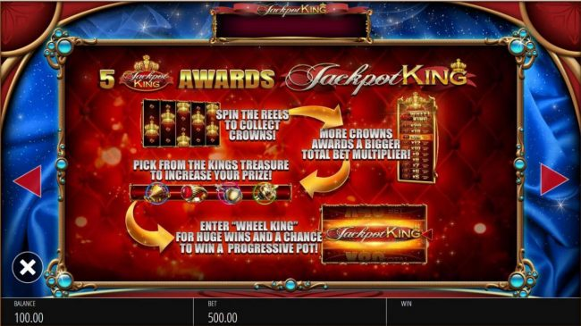 5 Jackpot King overlays awards Jackpot King Bonus Game