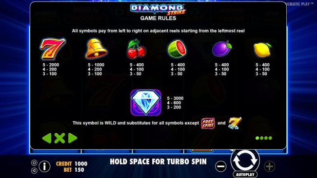 Campeon featuring the Video Slots Diamond Strike with a maximum payout of $75,000