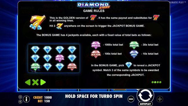 Diamond Strike :: Jackpot Bonus Game Rules