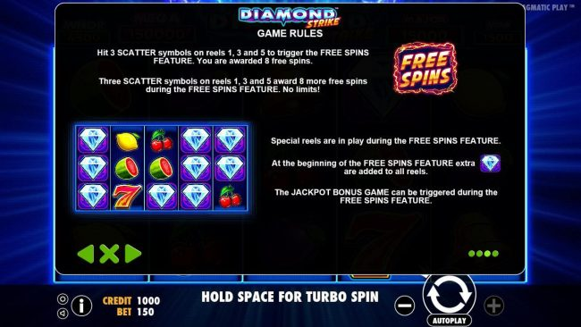 Crystal Casino Club featuring the Video Slots Diamond Strike with a maximum payout of $75,000