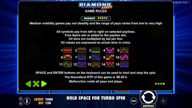 Diamond Strike :: Paylines 1-15
