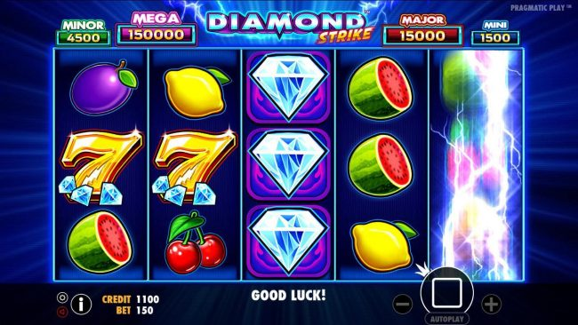 VipSpel featuring the Video Slots Diamond Strike with a maximum payout of $75,000