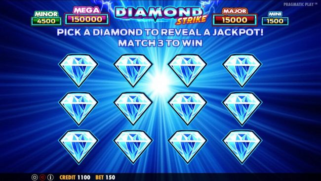 Rose Slots featuring the Video Slots Diamond Strike with a maximum payout of $75,000
