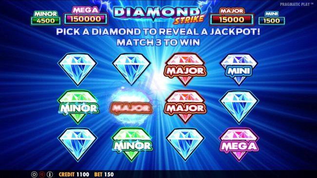 Diamond Strike :: Pick diamonds and match 3 same symbols to win that jackpot